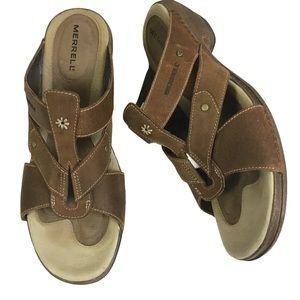 Merrell Luxe Slide Heeled Leather Sandals in Mink